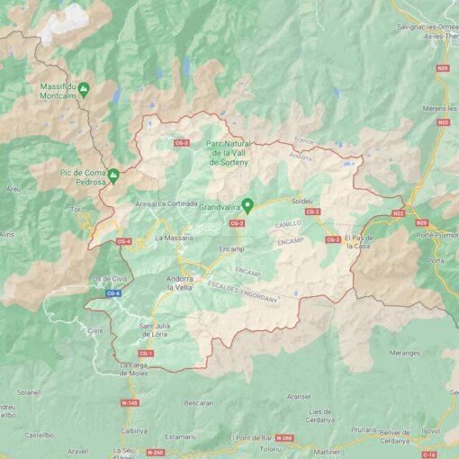 Andorra Border Countries Map