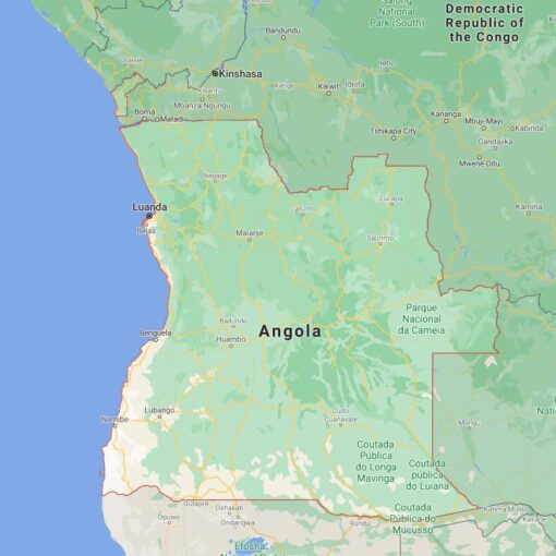 Angola Border Countries Map
