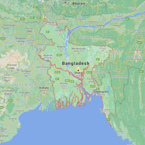 Bangladesh Border Countries Map
