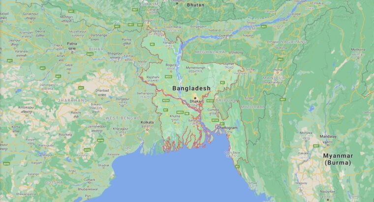 Bangladesh Border Countries Map