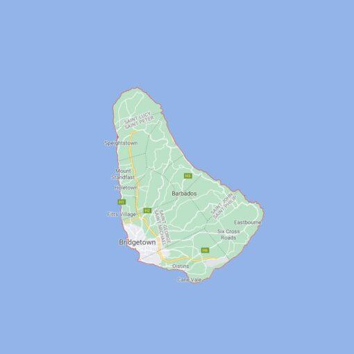 Barbados Border Countries Map