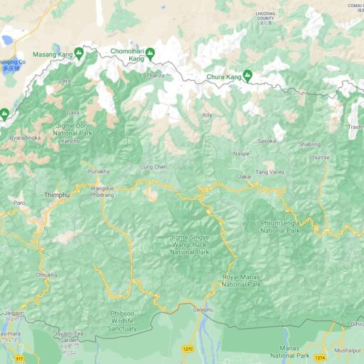 Bhutan Border Countries Map