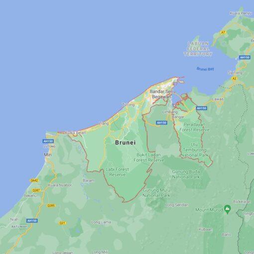 Brunei Border Countries Map