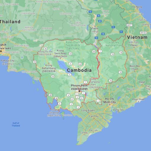 Cambodia Border Countries Map