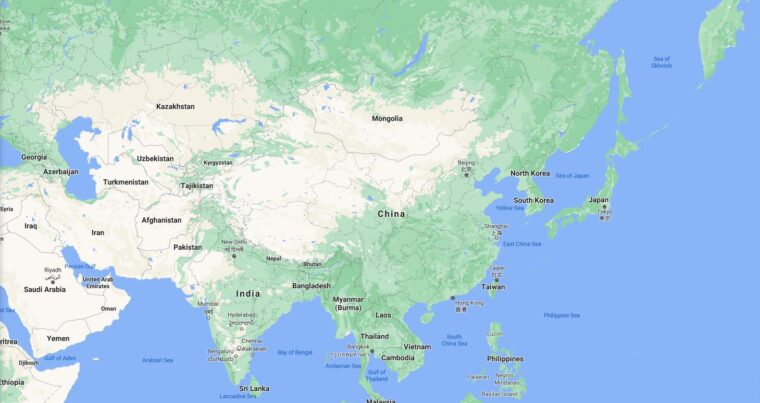 China Border Countries Map