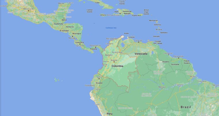 Colombia Border Countries Map