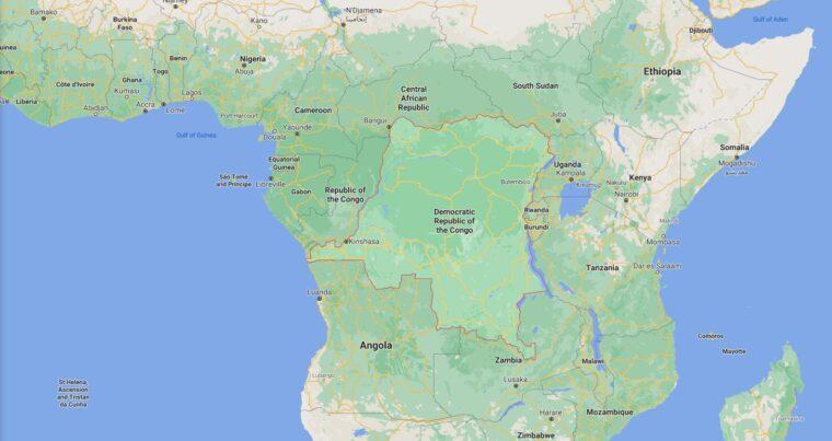 Democratic Republic of The Congo Border Countries Map