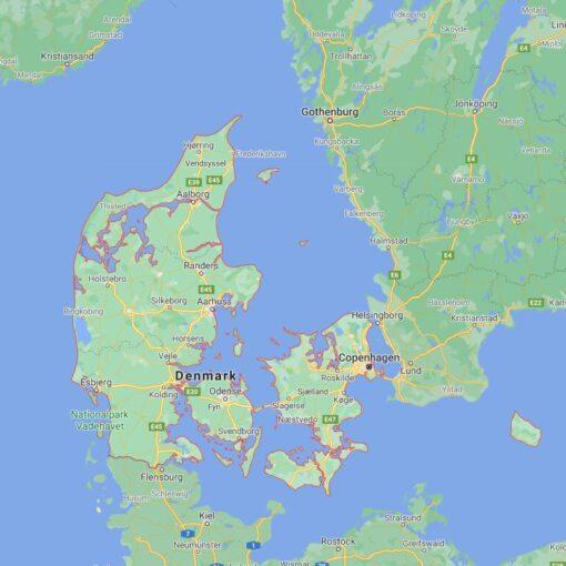 Denmark Border Countries Map