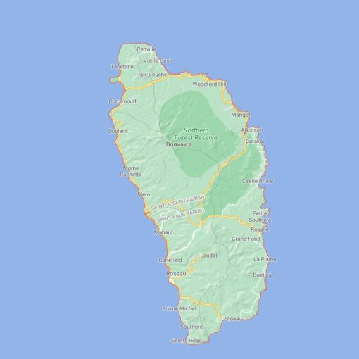 Dominica Border Countries Map