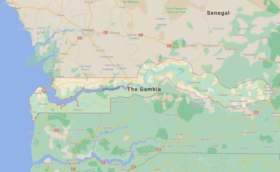 Gambia Border Countries Map