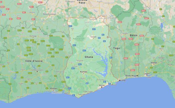 Ghana Border Countries Map