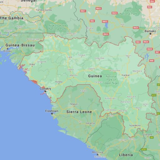 Guinea Border Countries Map