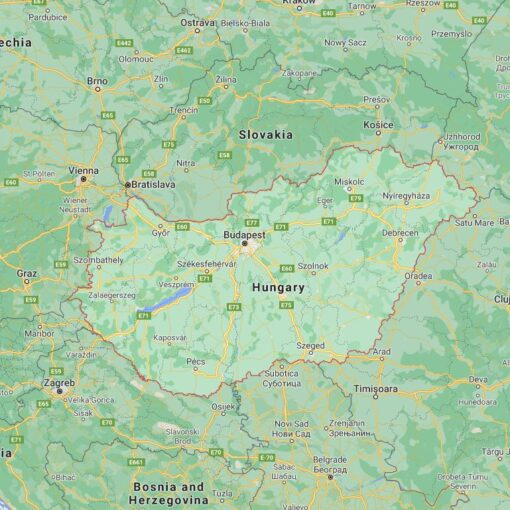 Hungary Border Countries Map