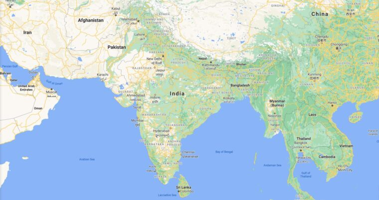 India Border Countries Map
