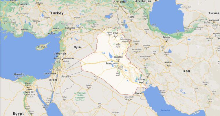 Iraq Border Countries Map