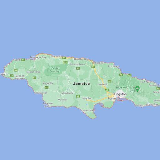 Jamaica Border Countries Map