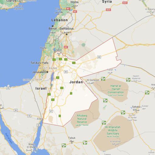 Jordan Border Countries Map