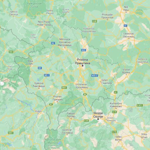 Kosovo Border Countries Map