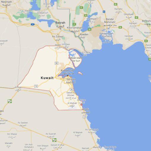 Kuwait Border Countries Map