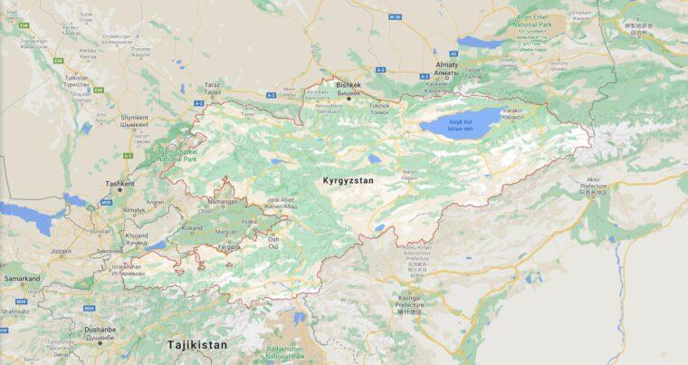 Kyrgyzstan Border Countries Map