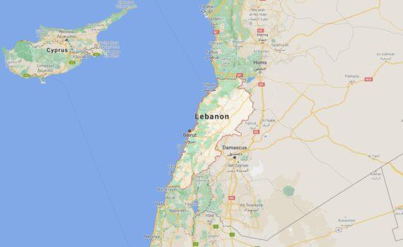 Lebanon Border Countries Map