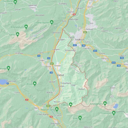 Liechtenstein Border Countries Map