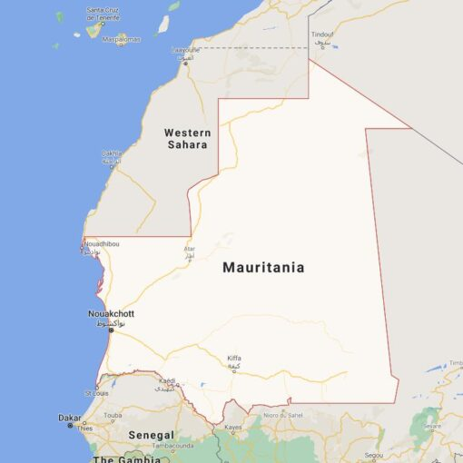 Mauritania Border Countries Map