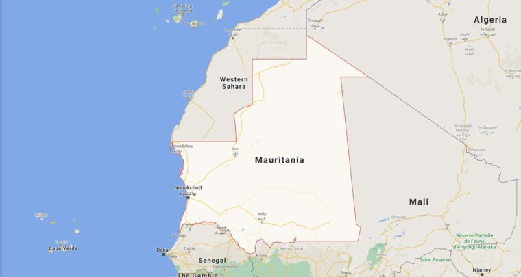 Mauritania Border Countries Map