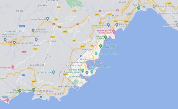 Monaco Border Countries Map