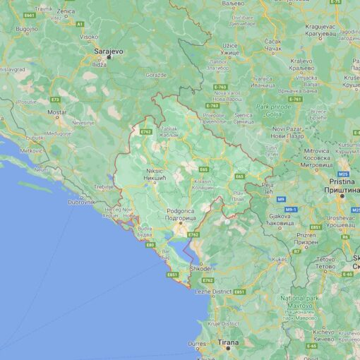 Montenegro Border Countries Map