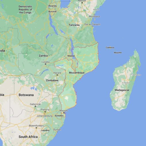 Mozambique Border Countries Map