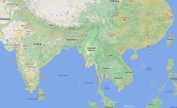Myanmar Border Countries Map
