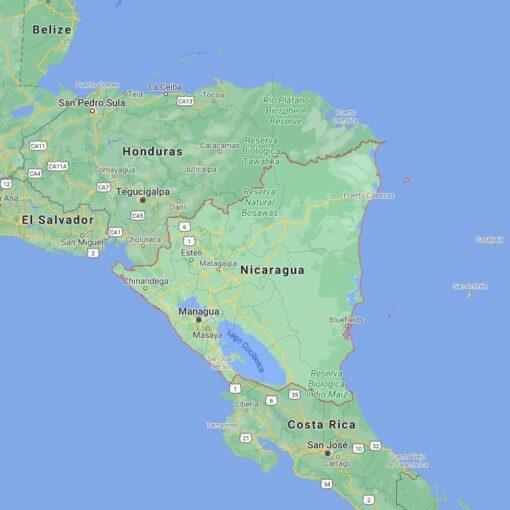 Nicaragua Border Countries Map