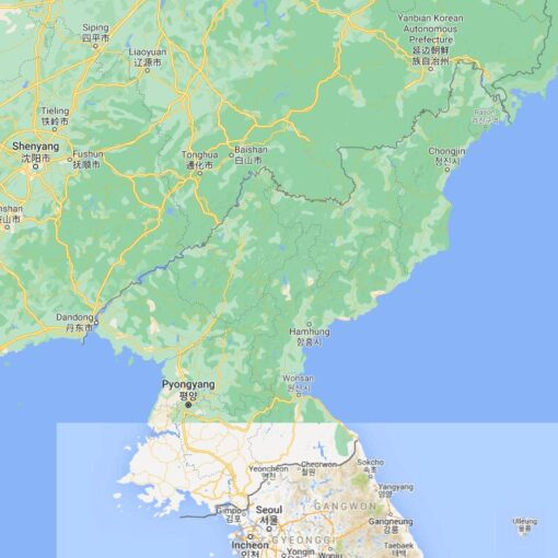 North Korea Border Countries Map