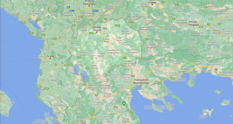 Northern Macedonia Border Countries Map