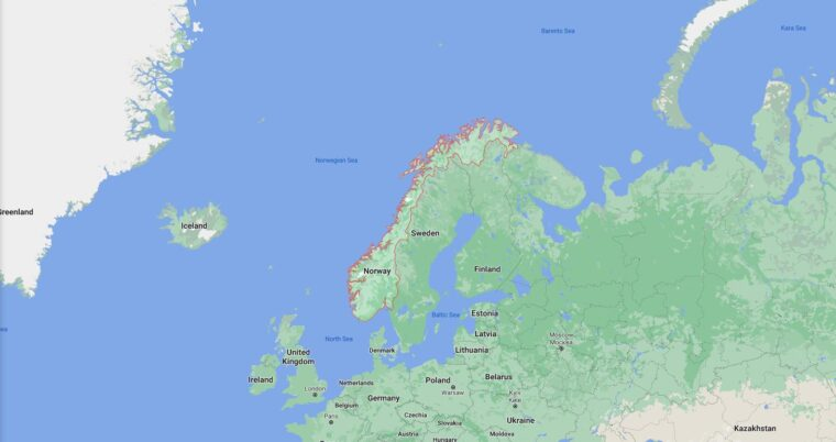 Norway Border Countries Map