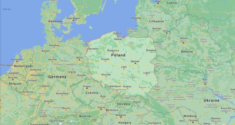 Poland Border Countries Map