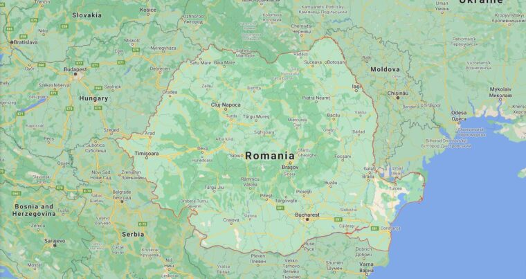 Romania Border Countries Map