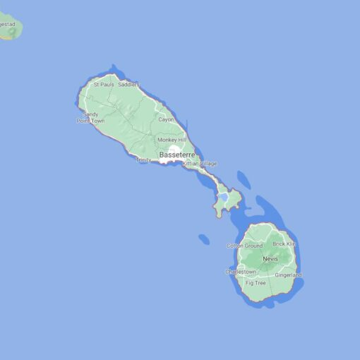 Saint Kitts and Nevis Border Countries Map