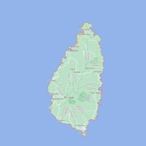 Saint Lucia Border Countries Map