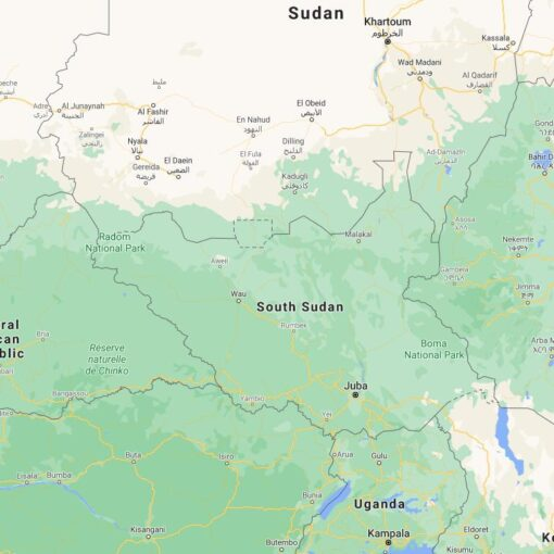 South Sudan Border Countries Map