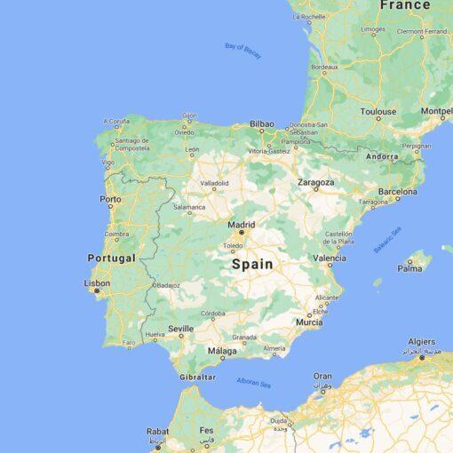 Spain Border Countries Map