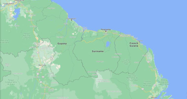 Suriname Border Countries Map
