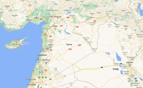 Syria Border Countries Map