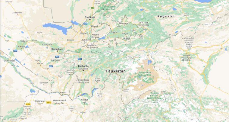 Tajikistan Border Countries Map