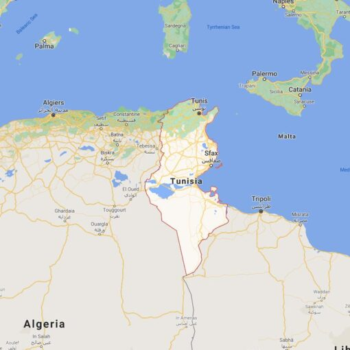 Tunisia Border Countries Map