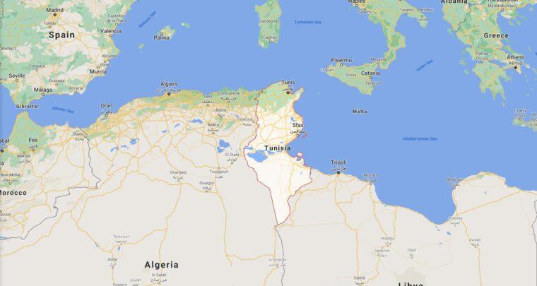 Tunisia Border Countries Map