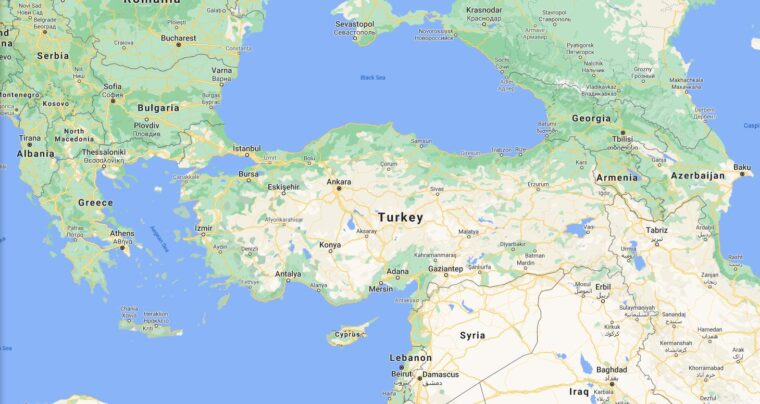 Turkey Border Countries Map