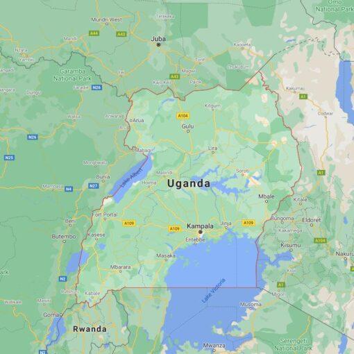Uganda Border Countries Map
