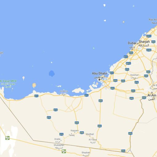 United Arab Emirates Border Countries Map